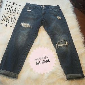 Leith Distressed Boyfriend Skinny Jeans sz 27